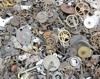 5 oz Vintage Watch parts cogs gears Steampunk Altered Art 142 grams Z 64