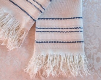 Vintage Bath Towel Fringe Blue White Hand Woven Stripes Antique Linens Bathroom Decor