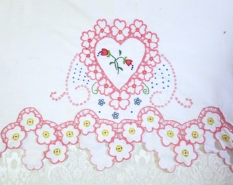 Vintage Madeira Pillowcase Hand Embroidered Pink Hearts
