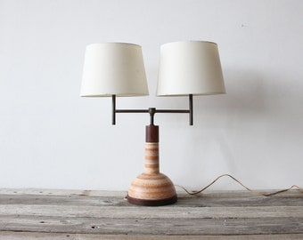 Pottery & Teak Double Arm Table Lamp