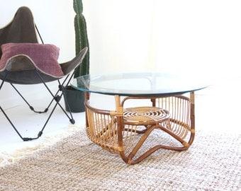 Franco Albini Style Round Rattan Coffee Table
