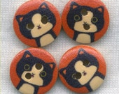 Black and White Cat Buttons Decorative Wooden Buttons 15mm (5/8 inch) Set of 4 /BT283E