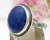 Lapis Lazuli Ring - sterling silver and 14K gold lapis ring - US size 7.5 - round mixed metal lapis lazuli ring - rustic lapis ring - 7 1/2