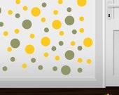 Set of 30 Olive Green / Yellow Vinyl  Polka Dot Wall Decals Circles Stickers (Peel & Stick Decal Circle Dots)