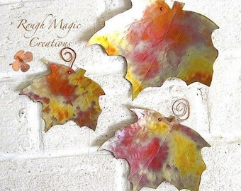 Autumn Leaves Copper Wall Hangings. Rustic Maple Leaf. Fall Woodland Home Decor. Colorful Hand Forged Metal. Indoor Decoration. 3 Piece Set