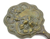 Antique Repousse Art Nouveau Hand Mirror - Wild Roses