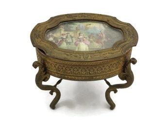 Art Nouveau Trinket Box - Antique, Gilt, Scene in Lid, Footed Jewelry Casket