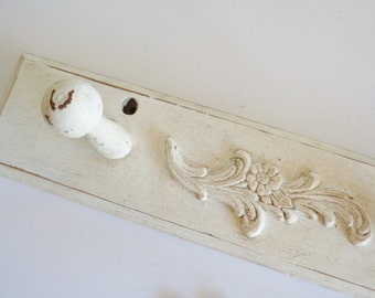 Painted Distressed Shabby Chic Farm House 3 Peg Coat Rack