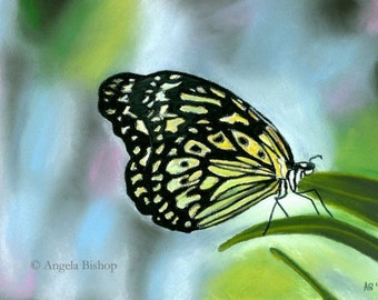 Butterfly Painting Print, Abstract, Butterfly, Color, Realism, Landscape, 5 x 7, Home Decor, Pastel, Giclee, Art Print, Fly, Bright, Insect
