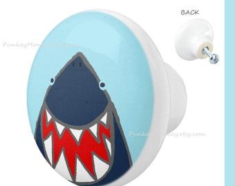 Shark drawer pulls custom ceramic knob pull sharks beach ocean decor nautical kids teens room decor seaside seashore fish shark decor