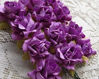 Paper Flowers 12 Millinery French Roses Lavender