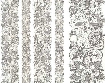 Italy Rice Paper Decoupage Sheet Jacobean Lace Bands RCP-TX-123
