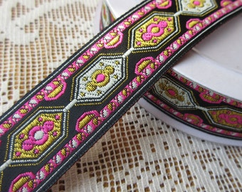 3 Yards Woven Folkloric Costume Traditional Jacquard Trim Ribbon Pink Black