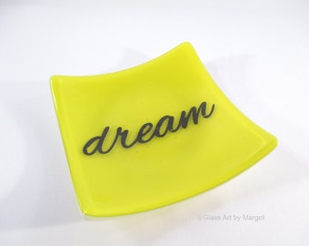 Fused Glass Plate Square 5 Inch Yellow Dream Plate Graduation Gift