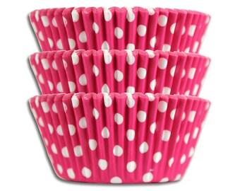 Bright Pink Polka Dot Baking Cups - 50 paper cupcake liners