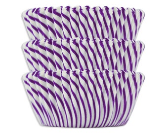 Purple Candy Stripe Baking Cups - purple striped cupcake liners, cupcake papers