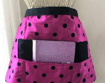 Vendor Apron Half Waist iPad Teacher Craft Pink Purple Fucshia Polka Dots Fabric (4 Pockets)