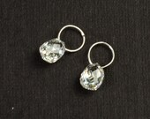 18K Solid White Gold Faceted Rose Cut Diamond Teardrop Briolette Charm