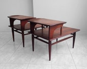 2 mid century modern walnut step up end tables by BASSETT Artisan Collection