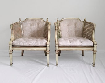 2 shabby chic FRENCH provincial cane barrel back accent chairs
