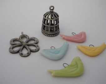 Bird Theme Destash Large Ceramic Birds Silver Birdcage Silver Flower Yellow Green Pink Blue Bird Charms