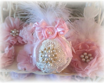 Shabby Chic Pink & Cream Lace Covered Glass Ball Christmas Ornaments Vintage Chic Shabby