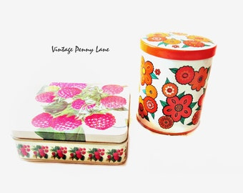 2 Vintage Tin, Metal Boxes / Containers, Retro Flowers / Raspberries