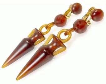 Vintage Egyptian Revival Lucite Urn Earrings
