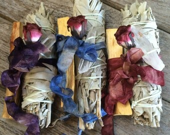 Sacred Incense & Crystal Set - White Sage, Palo Santo, Lemurian Crystal