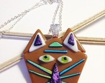 Fused Glass Kitten Necklace