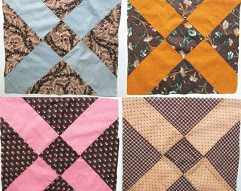 Group of 4 Antique Early Victorian 1860's Era 12 Inch Sq Size X Block Cotton, Calico Fabrics Quilt Squares, Blocks, Quilting, Quilt Art