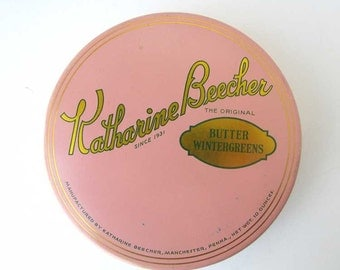Vintage 1950 Katherine Beecher Butter Wintergreens Candy, Mints Box, Tin Container, Button Box, Sewing Box, Pink w Gold
