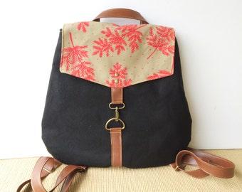 backpack • leather and canvas backpack • hot pink botanical floral print - black canvas - travel back pack • native