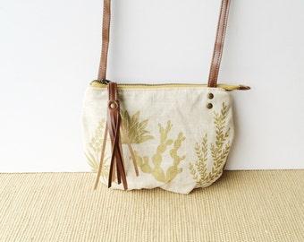 date purse  • crossbody bag - cactus • metallic gold - cactus and succulent print - linen - gifts under 50 - screenprinted • native