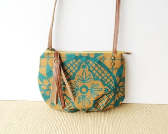 date purse  • crossbody bag - geometric floral • teal and orange geometric floral print - canvas - gifts under 50 - screenprinted • talavera