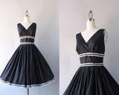 Vintage 50s Dress / 1950s Black Cotton Sundress / 50s Full Skirt Deep V Dress