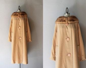 Vintage Cashmere Coat / 1960s Mink Trimmed Camel Cashmere Coat / 50s Nude Fur Trim Coat