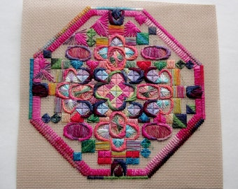 vintage cross stitch needlepoint sampler rich colors flowers - not framed