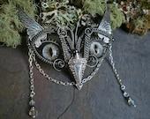 Gothic Steampunk Baby Owl in Soft Grey