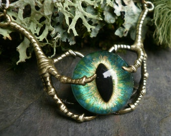 Gothic Steampunk Raven Claw With Green Blue Eye