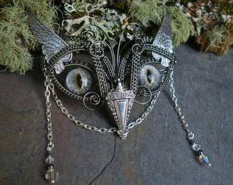 Gothic Steampunk Baby Owl in Soft Grey