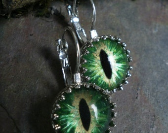 Gothic Steampunk Lever Earrings with Green Gold Eyes