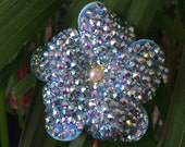 Mini megawatt Swarovski light sapphire-colored  hair flower with swarovski pearl at center