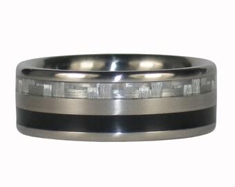 Black Jet and White Carbon Fiber Ring