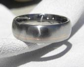 Titanium Ring with Narrow Offset Rose Gold Inlay Pinstripe, Wedding Band, Satin