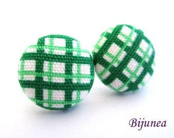 Gingham earrings - Green gingham stud earrings - Gingham posts - Gingham studs - Gingham post earrings sf1145