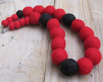 Felt Beads Necklace - Red and Black One-of-a-kind Chunky Fabric Necklace