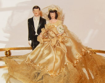 Vintage late 1940 Chalkware Bride and Groom Cake topper