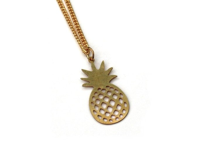 Gold Pineapple Necklace, Pineapple Charm Necklace, Fruit Necklace