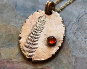 """Bronze Fern Necklace with Baltic Amber on 14k Gold-Fill 18"""" Chain"""
